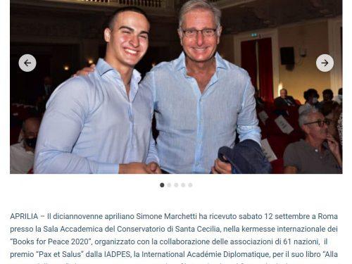 """Alla Ricerca della vita: rassegna stampa Premio """"Pax et Salus"""" del 14 settembre 2020"""