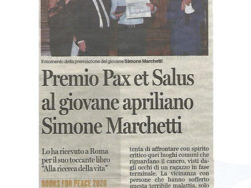 """Il quotidiano Latina Oggi riporta il Premio 'Pax et Salus' assegnato a """"Alla ricerca della vita'"""