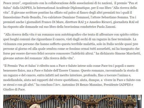 """Alla Ricerca della vita: rassegna stampa Premio """"Pax et Salus"""" del 15 settembre 2020"""